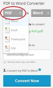 đổi file pdf sang word