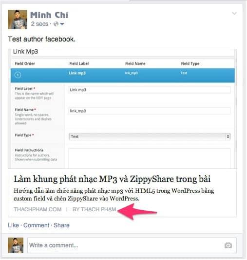 Hướng dẫn hiển thị tên tác giả lên Facebook cho WordPress