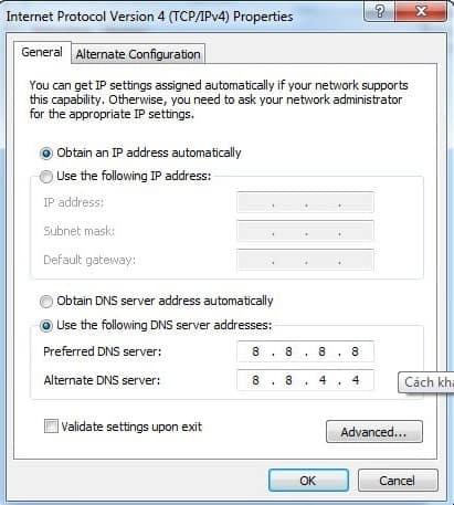 không truy cập được Internet