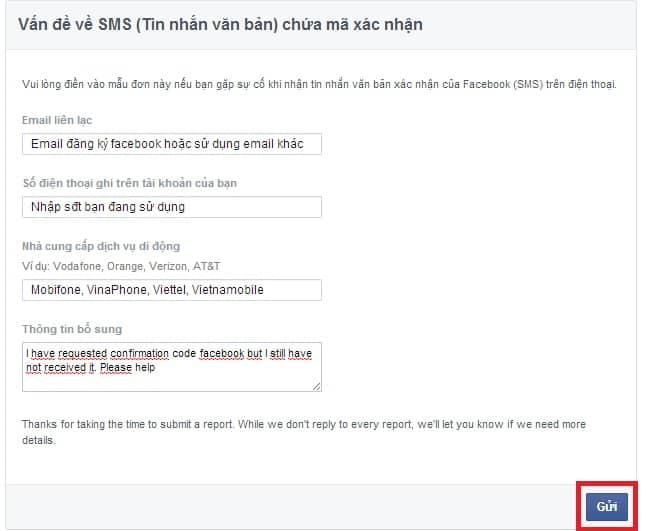 Lỗi xác nhận đăng ký facebook qua điện thoại