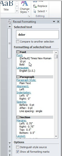 Reveal formating word 2010
