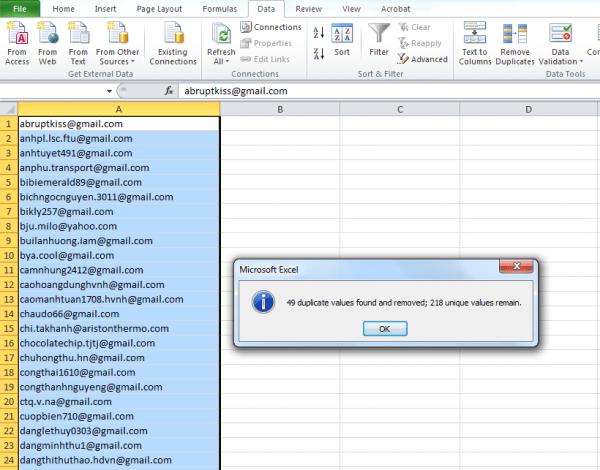 Xóa dữ liệu Remove duplicate