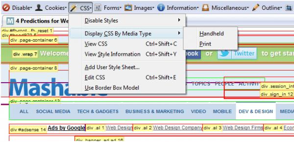 10 Add-on Firefox cho người thiết kế website - add on Web-Developer