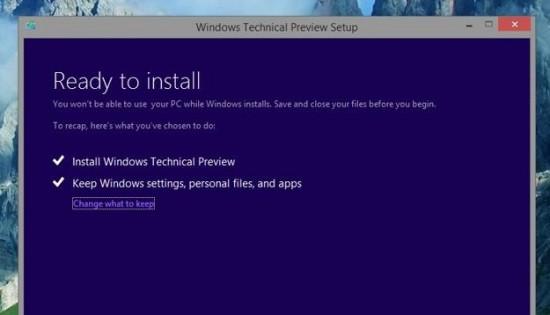 Cài đặt Windows 10 Technical Preview trên PC