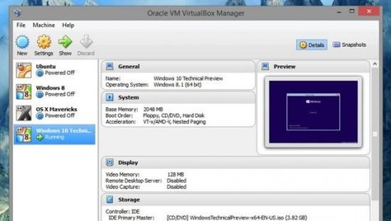 Cài đặt Windows 10 Technical Preview trong VirtualBox