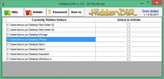 4 công cụ miễn phí giúp ẩn tập tin trong Windows - HiddenDIR