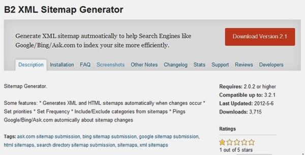 XML Sitemap tốt nhất cho WordPress - B2 XML Sitemap Generator