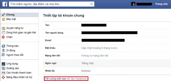 Cách lưu trữ tất cả dữ liệu trên tài khoản Facebook