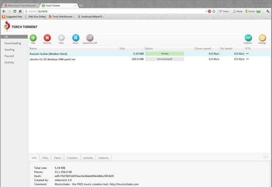 Những phần mềm tải Torrent tốt nhất hiện nay - Torch Browser