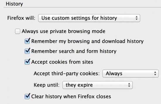 Tự động xoá dữ liệu khi đóng trình duyệt Firefox