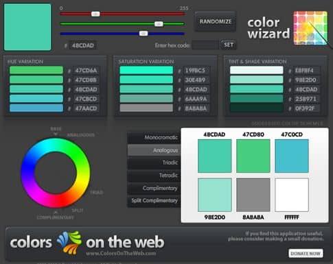 Công cụ hữu ích trong việc thiết kế Website - Color Scheme Generator