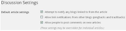 Cách hạn chế comment Spam trong Blog WordPress - Tắt pingbacks và trackbacks