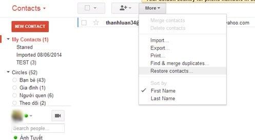Khôi phục danh bạ bị xoá trong gmail