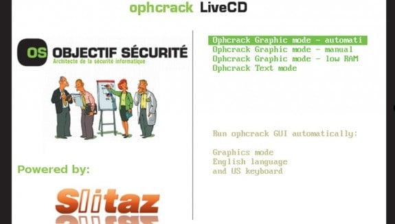 Khởi động Ophcrack