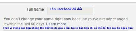 Hướng dẫn đổi tên Facebook khi chưa đủ 60 ngày