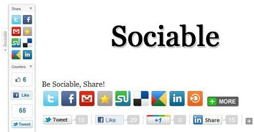 Plugin chia sẻ mạng xã hội -Sociable