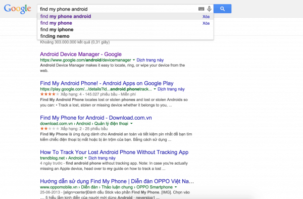 Tìm kiếm smartphone Android bị mất qua Google.com