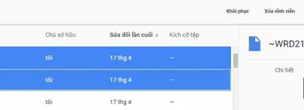 Cách phục hồi trên Google Drive