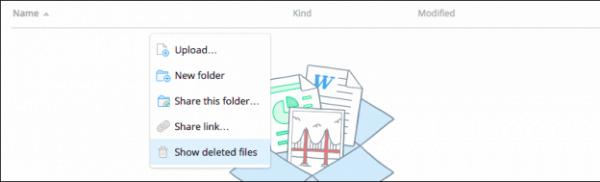 Cách phục hồi trên Dropbox
