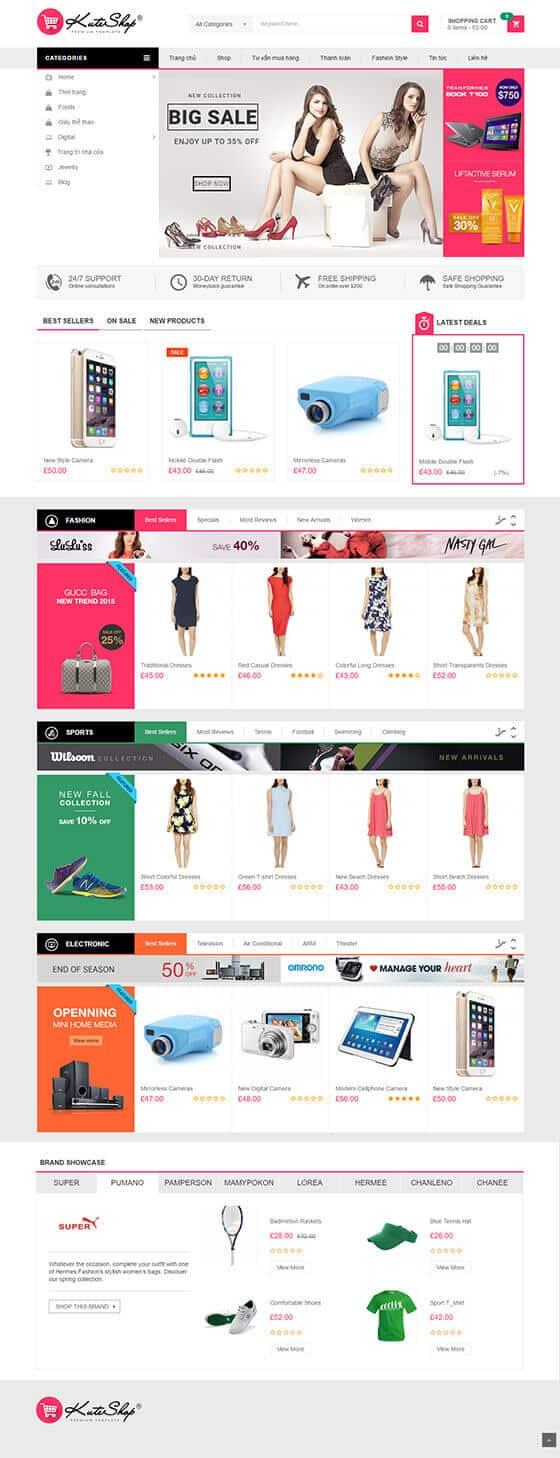 Mẫu giao diện website bán hàng, shop online 01