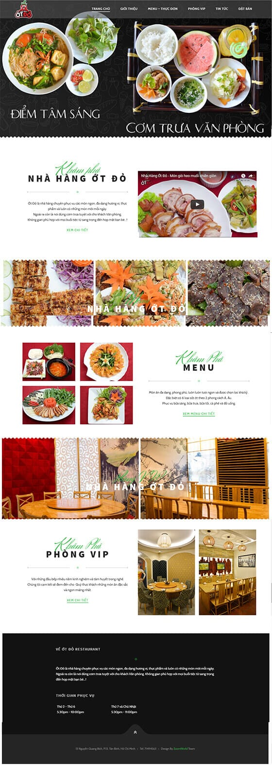 Mẫu website nhà hàng 01