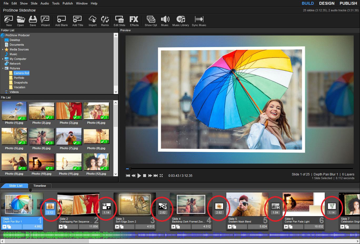 Chỉnh hiệu ứng chuyển đổi giữa các Slide trong Proshow