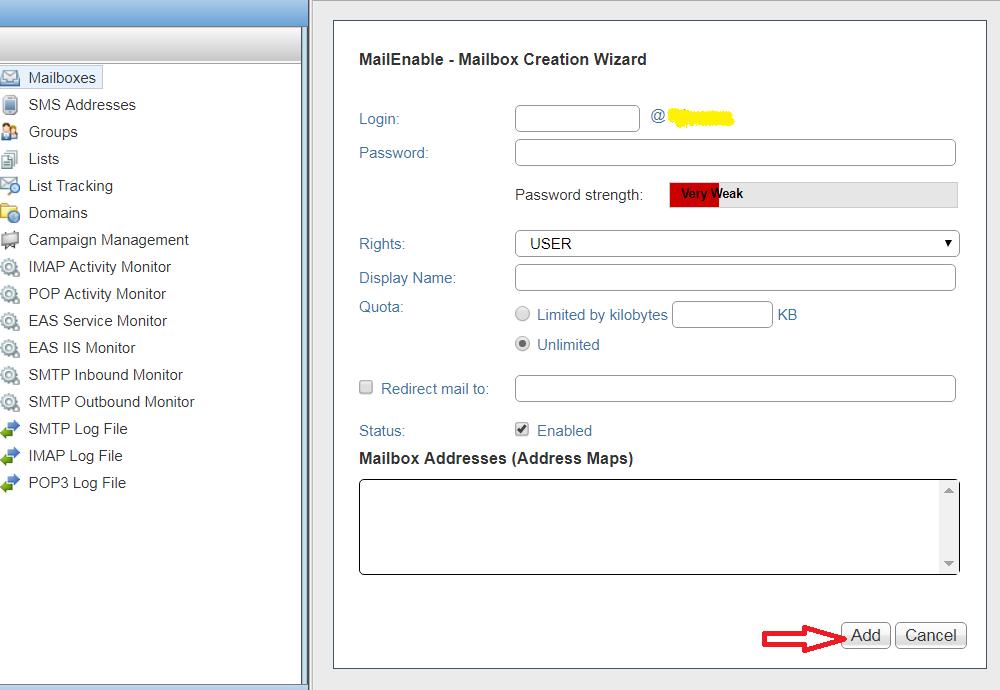 tạo mới email user trên email server