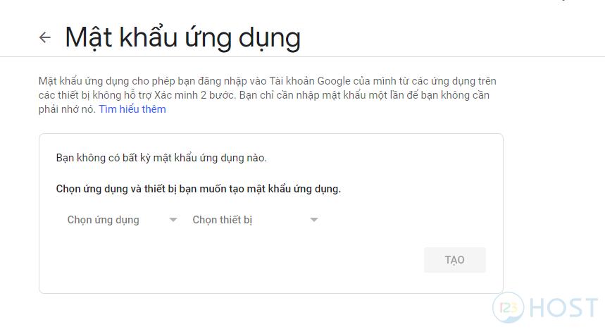 Hướng dẫn tạo mật khẩu ứng dụng cho Gmail